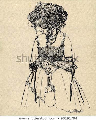 Mulher seis véu mulher jovem preto Foto stock © courtyardpix