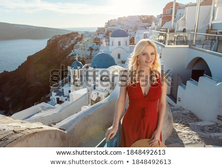 gelukkig · toeristische · vrouw · santorini · eiland · Griekenland - stockfoto © nejron