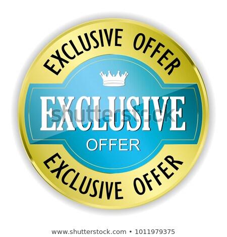 Exclusief deal Blauw vector icon knop Stockfoto © rizwanali3d