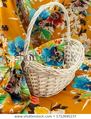 Easter eggs on blue textile draped background Stock photo © dariazu