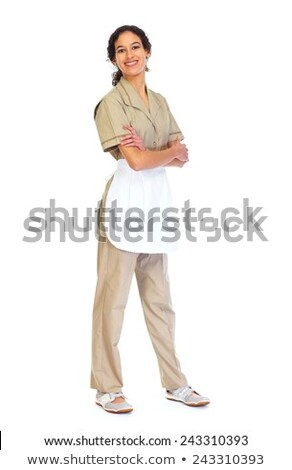 Housemaid woman isolated white background. Stock photo © Kurhan