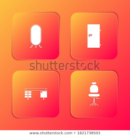 Kantoorwerk vierkante vector oranje icon ontwerp Stockfoto © rizwanali3d
