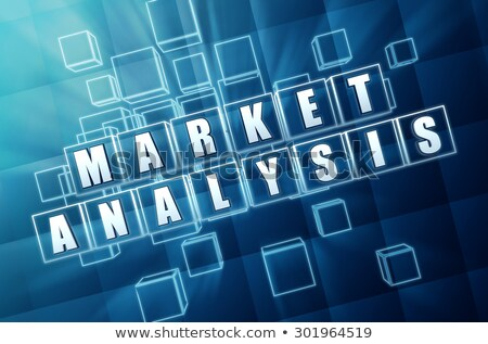 Market Analysis In Blue Glass Cubes Foto stock © marinini