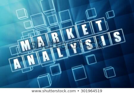 Market Analysis In Blue Glass Cubes Stockfoto © marinini