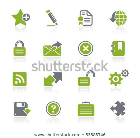 vert · téléchargement · bouton · clé - photo stock © fuzzbones0