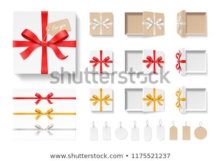 Açmak beyaz hediye kutusu kahverengi şerit yay Stok fotoğraf © teerawit