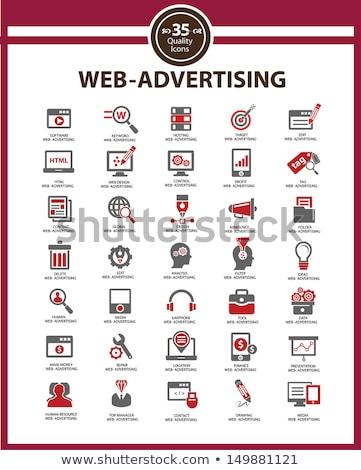 Seo piros vektor ikon terv technológia Stock fotó © rizwanali3d