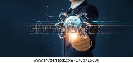 üzletember tart kommunikáció szimbólum virtuális kéz Stock fotó © fotoquique