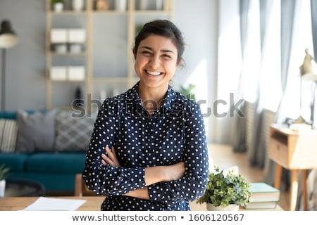 Boldog csinos barna hajú néz kamera keresztbe tett kar Stock fotó © wavebreak_media