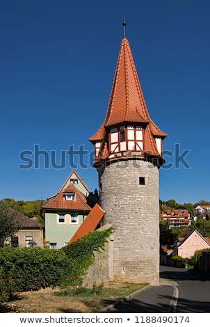 old town wall with tower in medieval city of marktbreit Stock photo © meinzahn