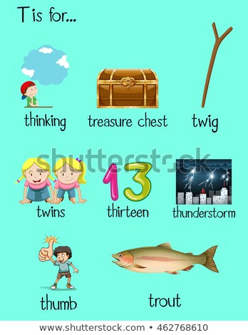 Flashcard letter T is for trout Stock photo © bluering