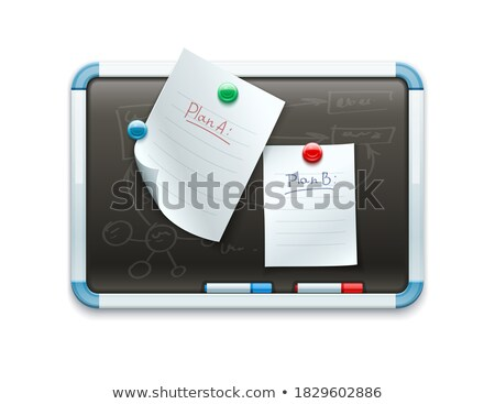 Office blackboard with pinned paper sheets and markers Stock photo © LoopAll