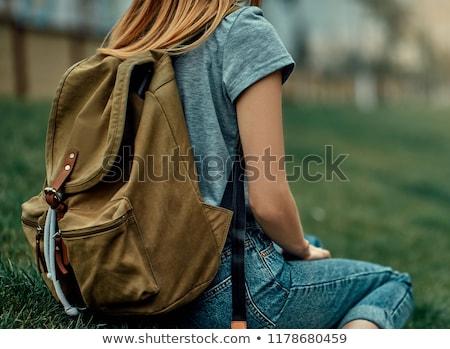 若い女の子 リュックサック ハイキング 自然 緑の草 草 ストックフォト © smuki