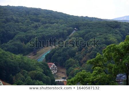 холмы Skyline деревне Церкви домах Сток-фото © compuinfoto