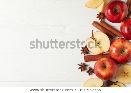 piros · alma · fahéj · izolált · fehér · étel · háttér - stock fotó © stephaniefrey