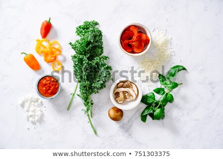 Dough for calzone with ingredients  top view Stock photo © Karpenkovdenis