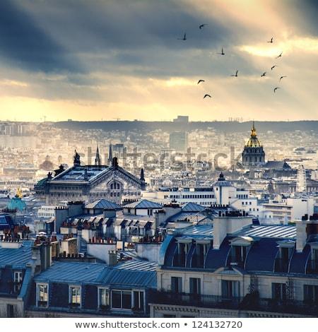 Parijs skyline antenne montmartre Frankrijk hemel Stockfoto © lunamarina