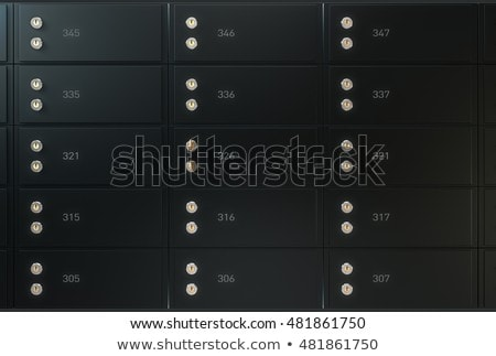 black safe deposit box wall stock photo © albund