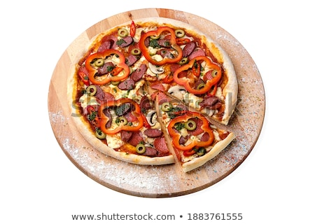 Pizza with mushrooms and hunting sausages on a wooden board next Stock photo © d_duda