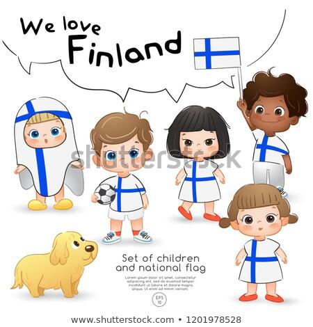 Meisje shirt vlag gelukkig kind Stockfoto © bluering