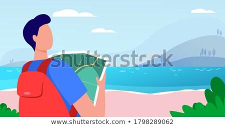 Vrouw man kaart landschap jonge vrouw Stockfoto © wavebreak_media
