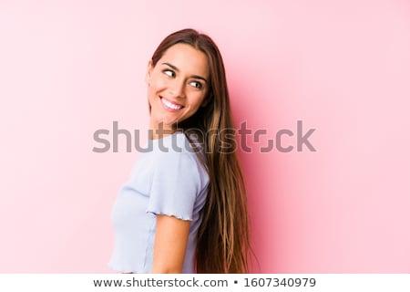 Güzel kafkas kadın poz stüdyo pembe Stok fotoğraf © NeonShot