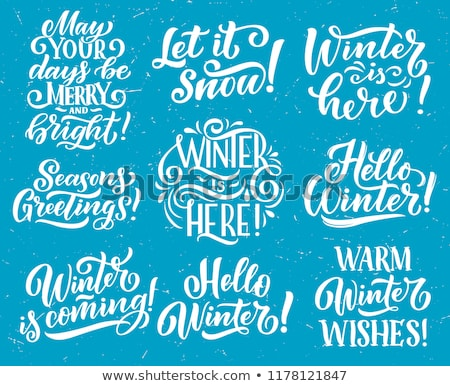 снега щетка каллиграфия счастливым дизайна краской Сток-фото © Anna_leni