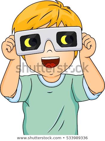 Kid Boy Eclipse Glasses Stock photo © lenm