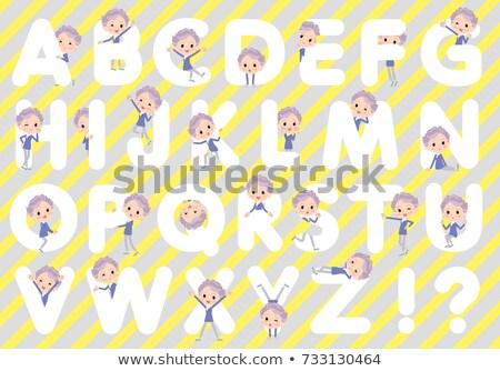 blue one piece old women_A to Z Stock photo © toyotoyo