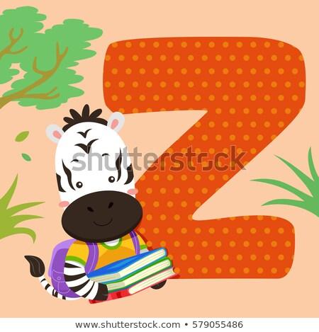 ábécé csempe zebra olvas illusztráció olvas Stock fotó © lenm