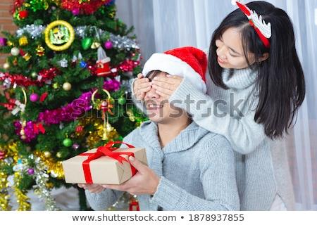 karácsony · ajándék · szarvas · fa · közelkép · papír - stock fotó © kzenon