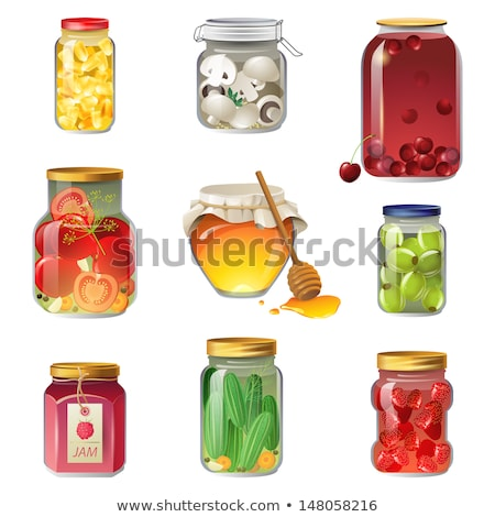 Strawberry Jam or Compote and Tomatoes, Glass Jars Stock photo © robuart