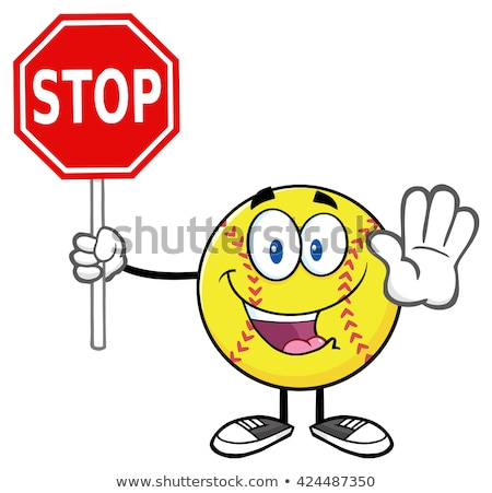 Funny Softball Cartoon Mascot Character Gesturing And Holding A Stop Sign Stock photo © hittoon