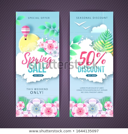 Advertisement - spring sale on background with leaves. Vector - green Stock photo © Natali_Brill