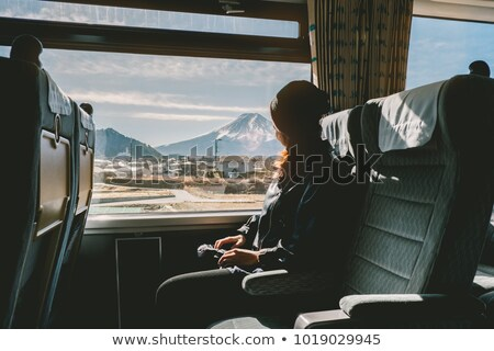 young tourist woman traveling sitting in the train stock photo © artfotodima