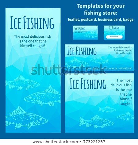 Winter Fishing Colorful Card Vector Illustration Stock photo © robuart