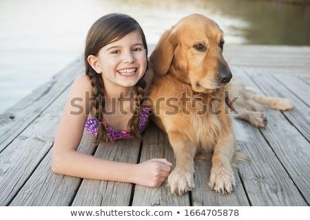 menino · cão · feliz · sorridente · pequeno - foto stock © boggy
