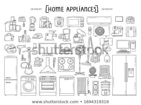 eléctrica · ventilador · blanco · metal · azul · viento - foto stock © rastudio