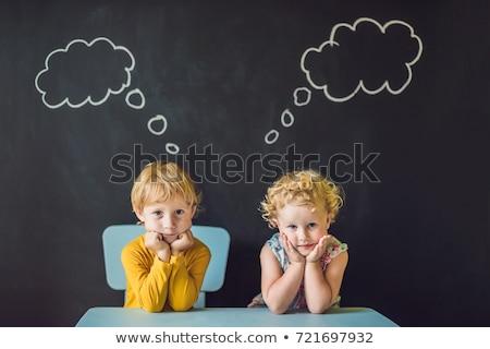 fiú · lány · gondolkodik · választ · gyermek · szoba - stock fotó © galitskaya