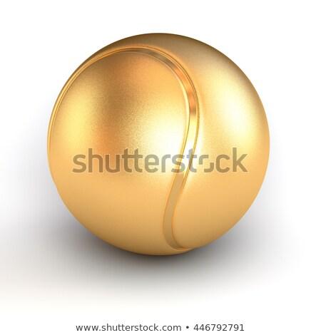 Arany teniszlabda trófea fehér tenisz labda Stock fotó © magraphics