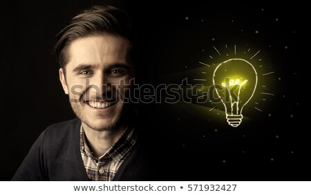mature man looking up with creative light bulb drawn stock photo © andreypopov