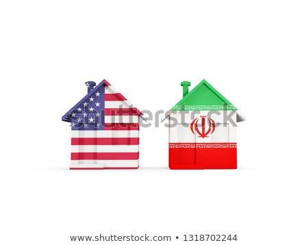 Stock fotó: Kettő · házak · zászlók · Egyesült · Államok · Irán · izolált