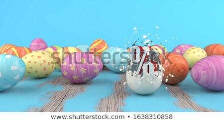 Ovos de páscoa por cento mesa de madeira ilustração 3d madeira Foto stock © limbi007