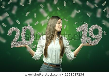 üzletasszony tart arany dollárjel illusztráció terv Stock fotó © 3dmask