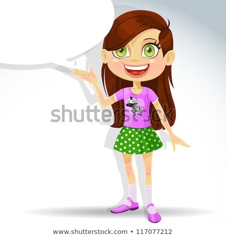Elementarny teen wiek cartoon dziewczyna ilustracja Zdjęcia stock © izakowski