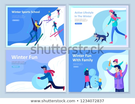 Family Skiing Activities in Winter Season Web Page Stock photo © robuart
