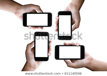 four hands holding horizontal the black smartphone with blank sc stock photo © Freedomz