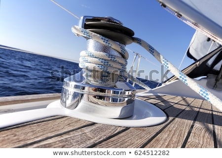 Sailboat winch and rope yacht detail Stock photo © boggy