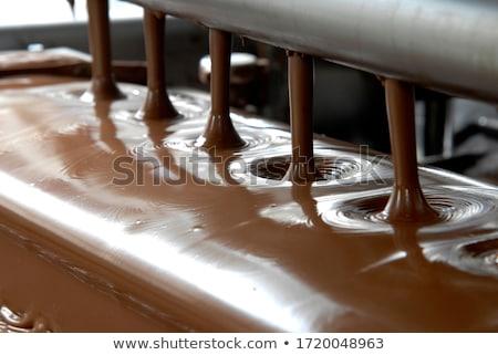 chocolate candies on conveyor at confectionery Stock photo © dolgachov