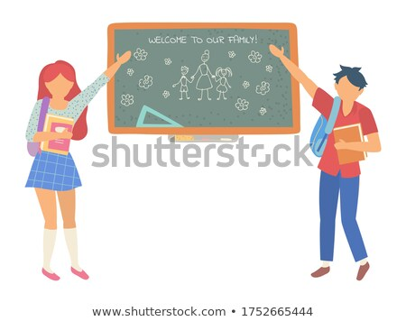 welcome to our class blackboard with drawing vector stock photo © robuart